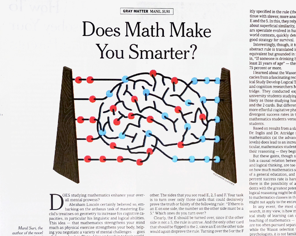 NY Times Sunday Review - Does math make you smarter