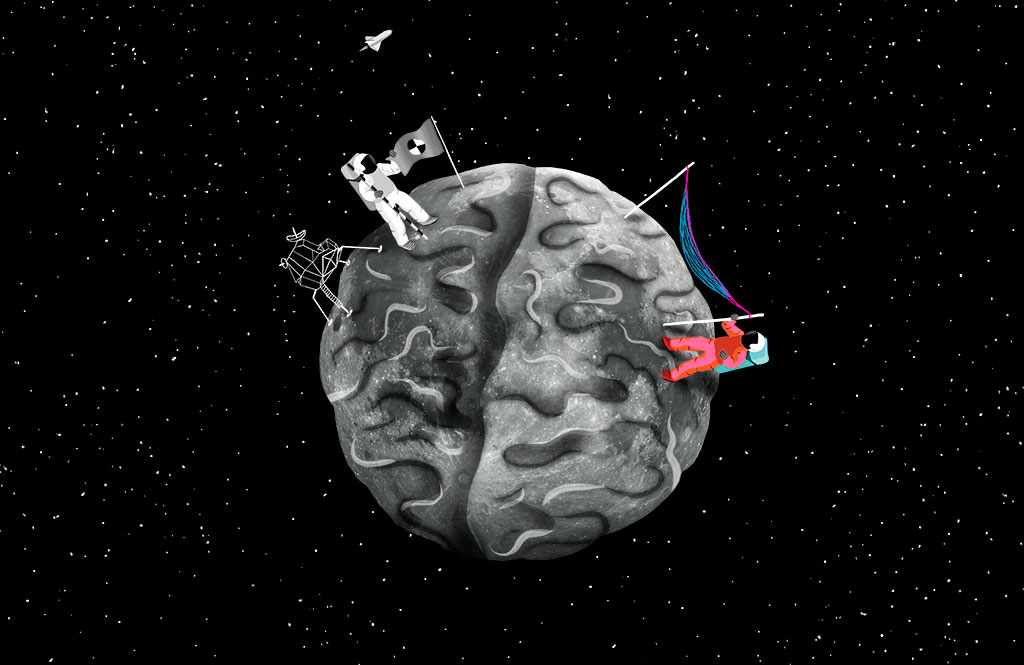 Porsche Illustrations about Innovation and Psychology Moon